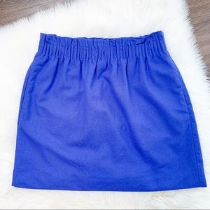 J.Crew Blue Ruffle Waist Wool Mini Skirt